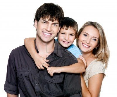 Image detail for -... young family with pretty child posing on white background Stock Photo