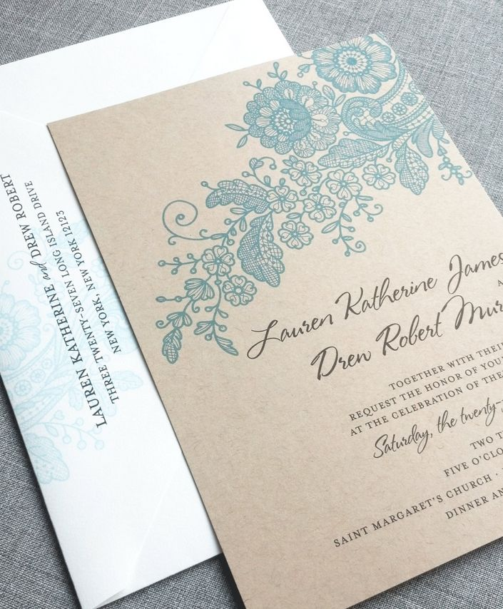 civil wedding invitation card%0A Lauren Kraft Lace Wedding Invitation Sample  Recycled Rustic Card Stock   Green  Charcoal  Teal or Navy Lace