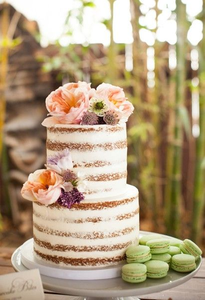 Naked wedding cake idea for a summer wedding - naked wedding cake decorated with peach + purple flowers and mint green macaroons {Samantha Bonpensiero Photography}