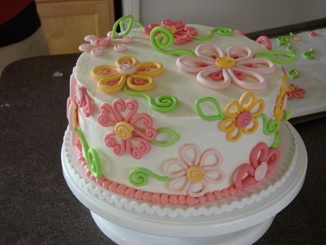 Fondant Decor On Buttercream Cake : Buttercream with fondant decorations Cakes/cupcakes ...