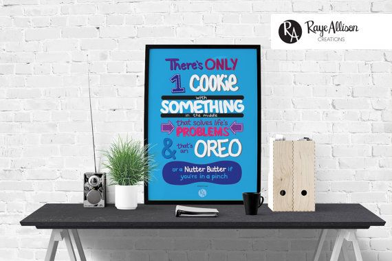 Big Bang Theory - Oreo quote - Quote poster - Handlettered printable quote art wall decor - Instant download