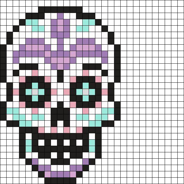 Sugar Skull Perler Bead Pattern