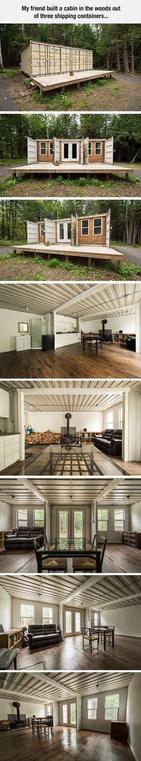 Cool Shipping Container Cabin | 12 Cool Container Homes | How To Build A Beautiful House From The Container - Awesome DIY Ideas and Design You Must See! | http://pioneersettler.co...