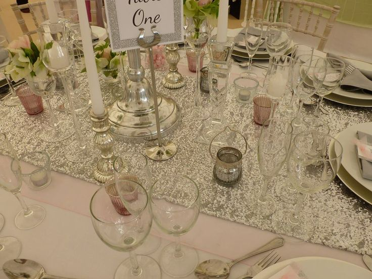 Silver Sequined Table Runners from Simply Bows and Chair Covers