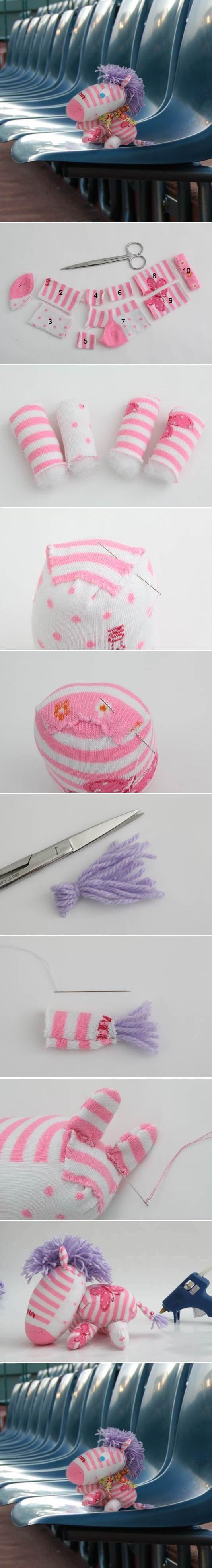 DIY розовый и белый носок Zebra