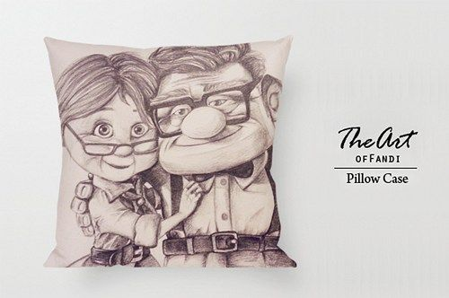 """Carl and Ellie - Custom Square 18""""x18"""" One Side Pillow Case."""