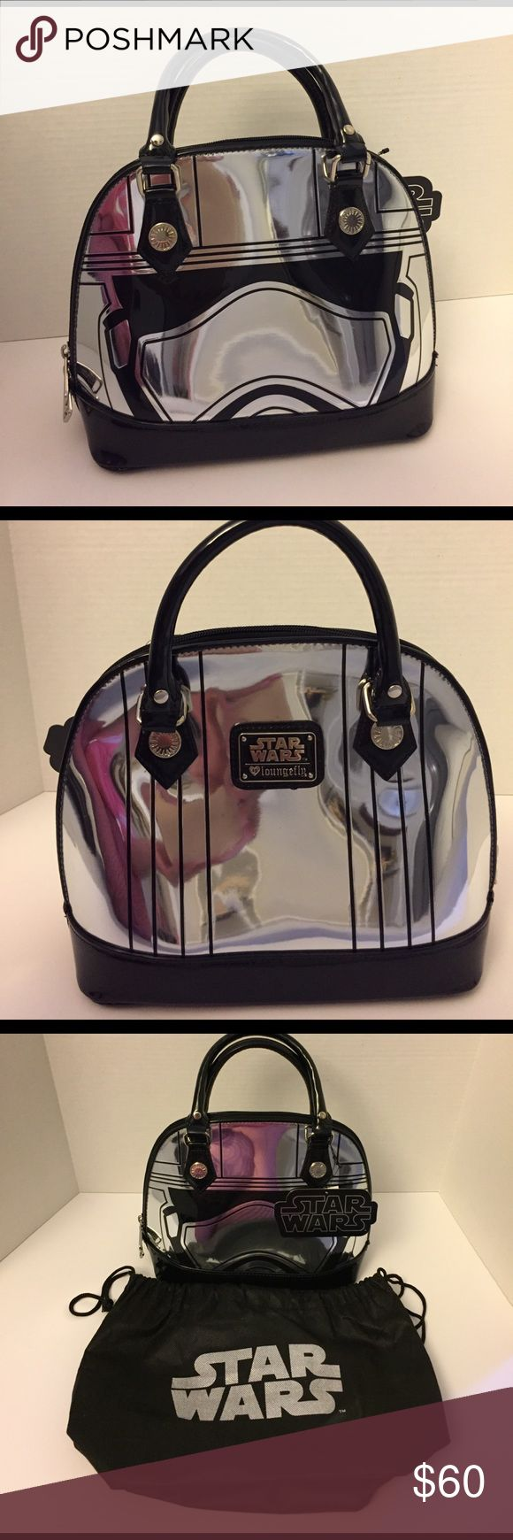 Loungefly Star Wars Captain Phasma Purse New with Tags.  Mirrored Loungefly Star Wars Captain Phasma Domed Purse.  Comes with dust Bag with Star Wars Logo on Front.  Comes from a smoke free/pet free home. Loungefly Bags Satchels