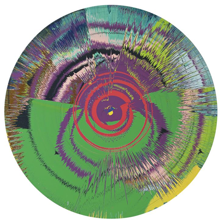 Damien hirst with bowie beautiful halo, space-boy painting ||| abstract;  household gloss on canvas ||| sotheby's 5
