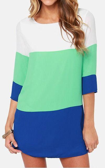Mint and Blue Shift Dress