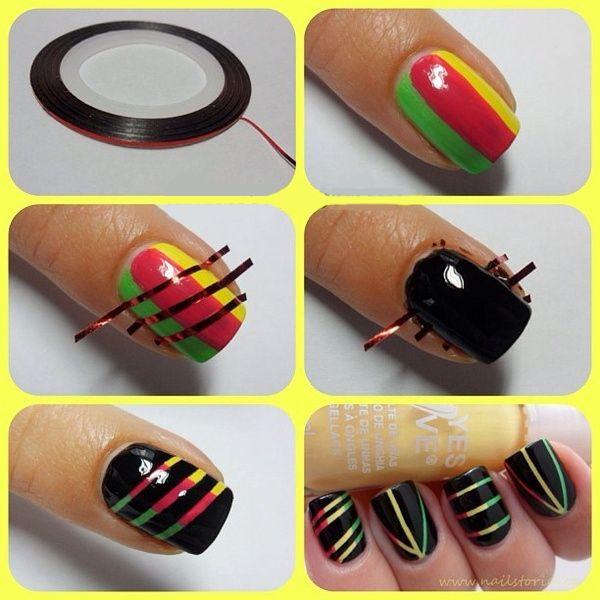 j'ai testé des nail arts trop beau à faire sur ongle court et long :        ils vous faudra : vernis de votre choix (pas les mêmes que sur les exemples bien sur) pour les traits du scotch les ...