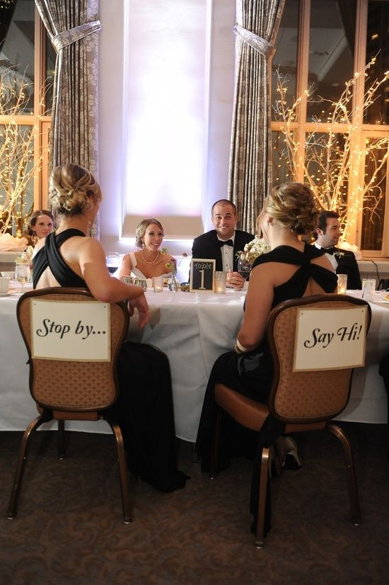 Having empty chairs across from the bride and groom. This way the newlyweds can actually sit and enjoy the meal and it's up to the guests to say hello. GENIUS