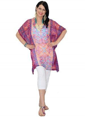 Dulce Mid Length Purple & Teal Green Print Kaftan Top  AUD $24.95