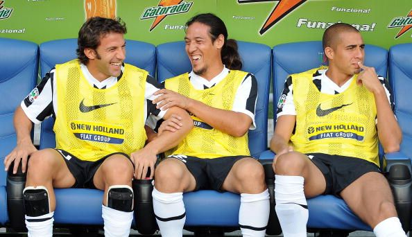 LR Alessandro Del Piero Mauro German Camoranesi and David Trezeguet of Juventus FC look on from the bench during the serie A match between AS Roma...