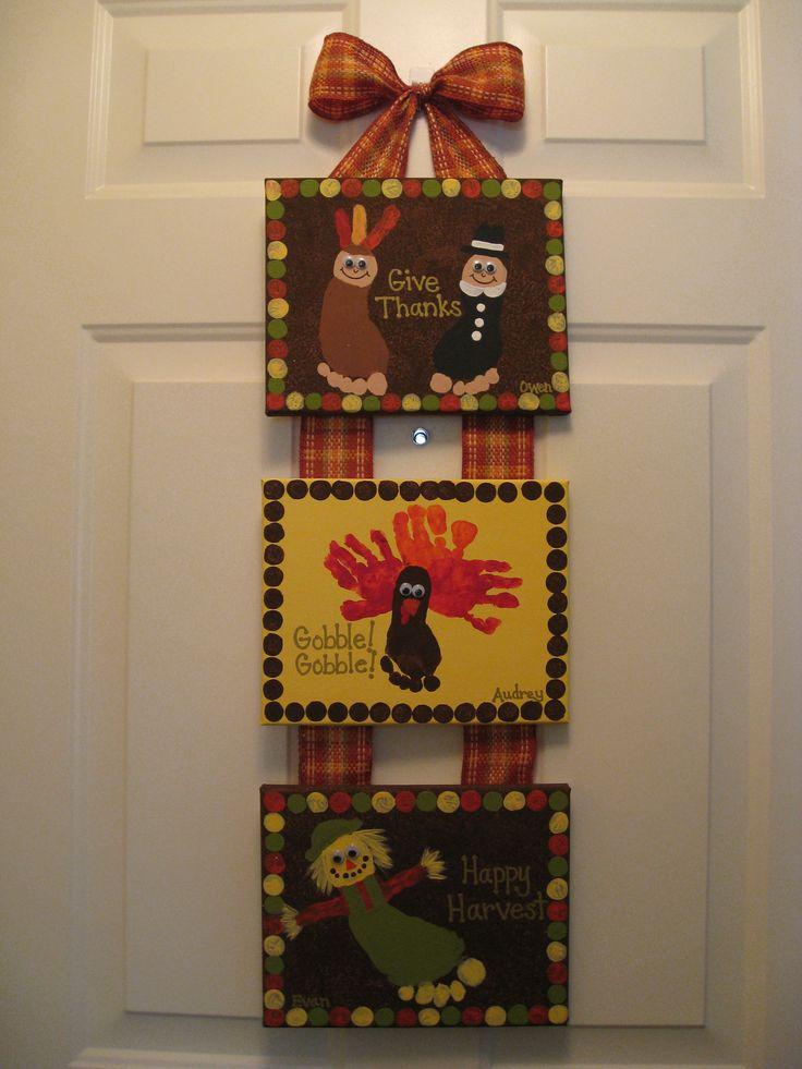 Thanksgiving Handprint & Footprint Canvas Craft