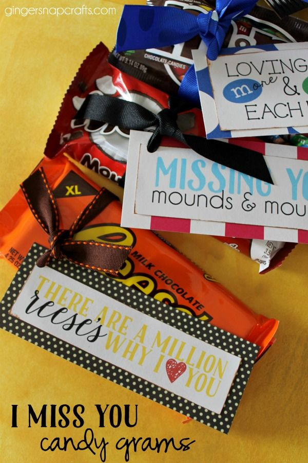 'I Miss You' candy grams with free printables - a fun gift idea!