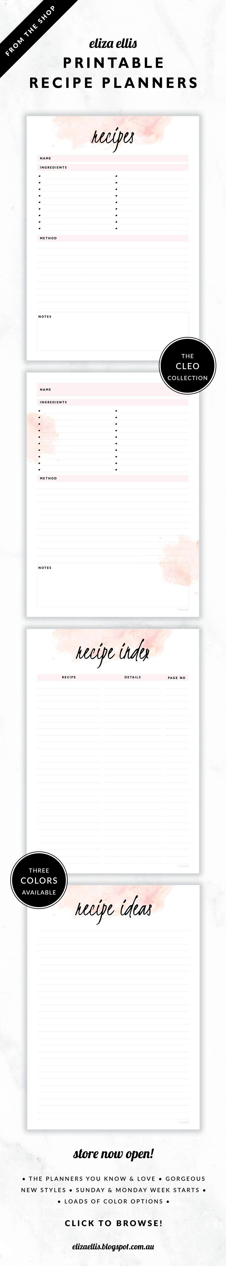 Printable Recipe Pages including Recipe Index and Ideas // The Cleo Collection by Eliza Ellis. Gorgeous watercolor and handwritten type design. Available in 3 colors – fairyfloss, nimbus and sherbet. Documents print to A4 or A5.