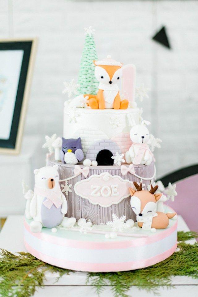 Zoe S Winter Scandinavian Themed Party Birthday Cake Woodland