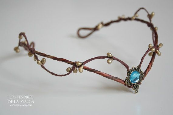 Woodland elf tiara  elven headpiece  fairy crown  BLUE by Ayalga