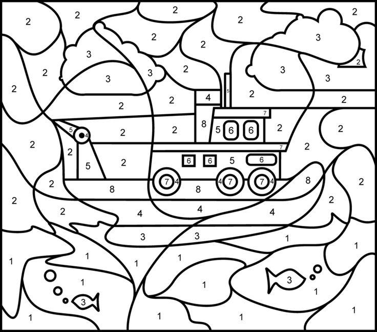 Ship - Printable Color by Number Page - Hard. Онлайн числовая раскраска