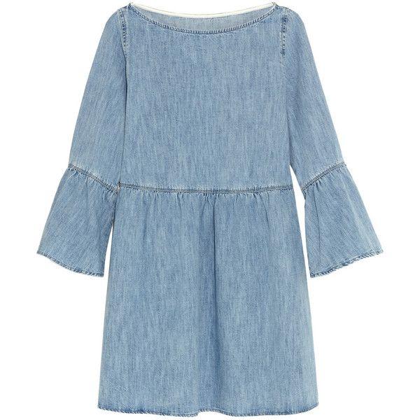 MM6 Maison Margiela Denim mini dress ($370) ❤ liked on Polyvore featuring dresses, vestidos, blue, short denim dress, bell sleeve mini dress, mini dress, blue dress and loose fitting dresses