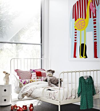 Iron bed from Ikea + Marimekko elephant print #kids
