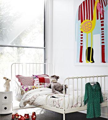 Iron bed from Ikea + Marimekko elephant print #kids