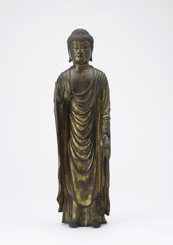Amitabha Buddha (Amida), the Buddha of Infinite Light.  Buddhist sculpture.  Kamakura period, 13th century.  Gilt bronze.  Japan.  Freer Gallery of Art