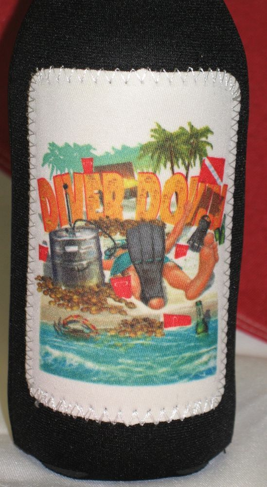 Diver Down beer bottle koozie scuba diving equipment surfing sailing kayaking #InovativescubaDiverDown