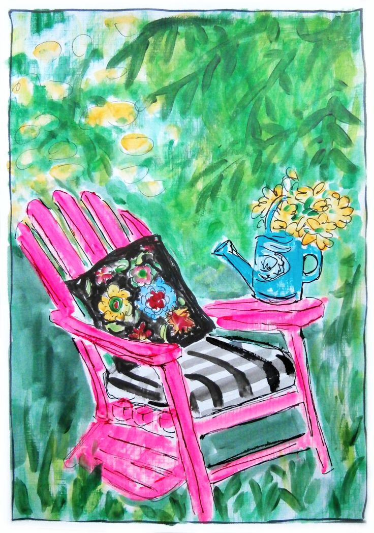 Pink chair in the garden. You just can't get enough pink. by OldPenArtStudio on Etsy
