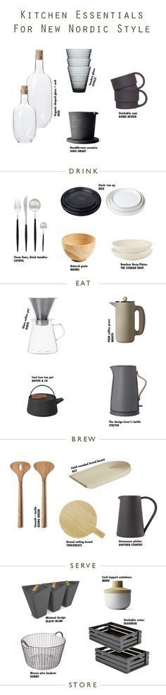 How to style your kitchen with this essential kitchen accessories shopping page for Scandinavian New Nordic Styling