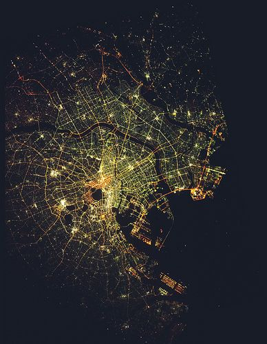 Tokyo at night viewed from space