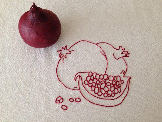 Pomegranate Kitchen Toewl Redwork Hand by DanasBigSister on Etsy