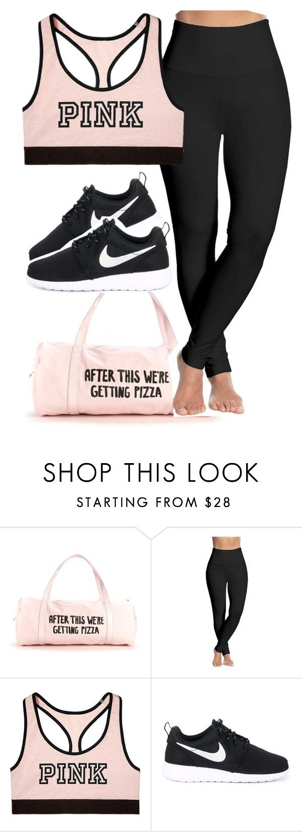 """gym outfit."" by xxsaraxtaraxx ❤ liked on Polyvore featuring Lyssé Leggings, Victoria's Secret and NIKE"