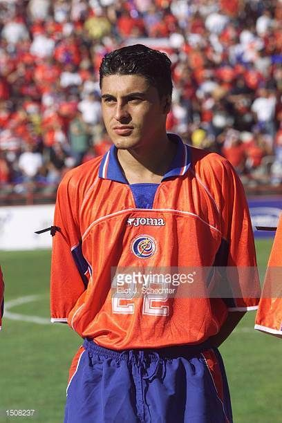 Carlos Castro of Costa Rica prepares for the during the 2002 Gold Cup match against Trinidad Tobago at the Orange Bowl in Miami FloridaThe game end a...