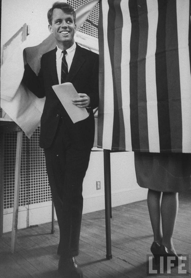 Sen. Robert F. Kennedy just after voting for brother John F. Kennedy. Location: US Date taken: November 1960 Photographer: Paul Schutzer
