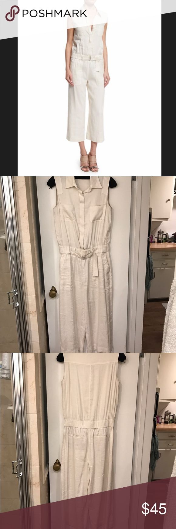 Vince Jumpsuit Fun linen jumpsuit for summer! Sleeveless, belted elastic waistband, and cropped wide leg. Looks adorable on, but hard to tell from the hanger so I added a picture form online. Like new!! Vince Pants Jumpsuits & Rompers