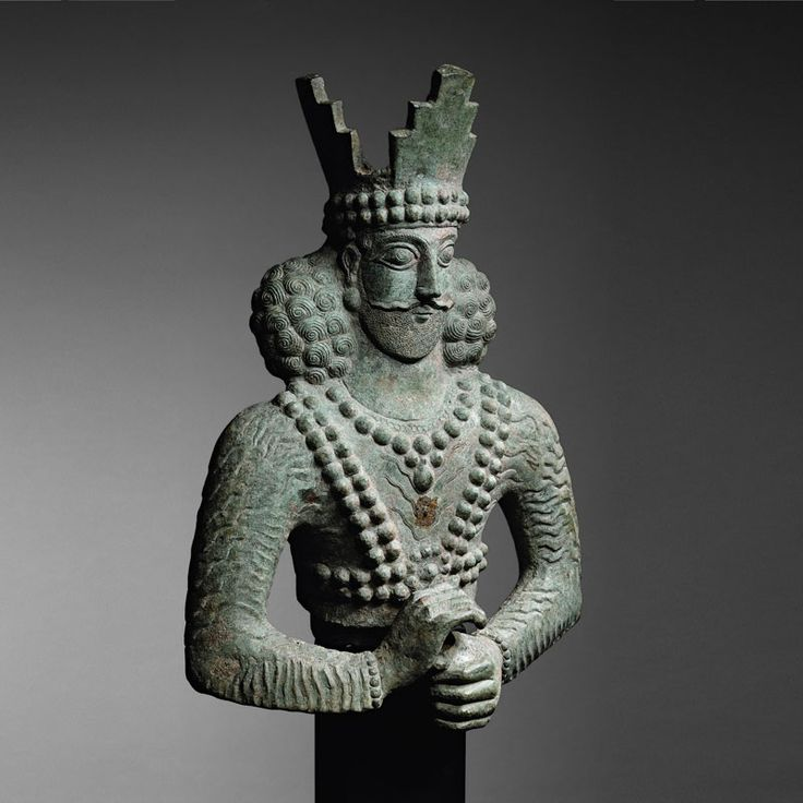 A Bronze Bust of Sassanid King (Shapur II)                                                                                                                                                        Culture :                  Persia                                              Period : 4th century A.D.                                          Material : Bronze