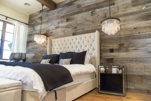 reclaimed wood planked bedroom wall - Google Search