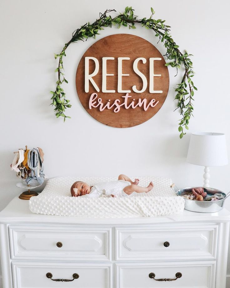 The cutest name plate! Little tiny babe. Perfect changing table solution, and prime font combo