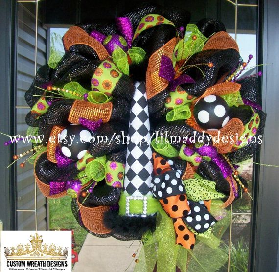 Whimsical Halloween Diamond Check Witch Hat by lilmaddydesigns, $155.00
