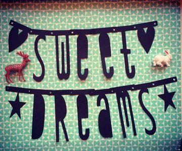 - Sweet Dreams - slinger  / banner / sling / pendulum / garland / wordbanner / woordslinger Zwart van PaperCandyNL op Etsy