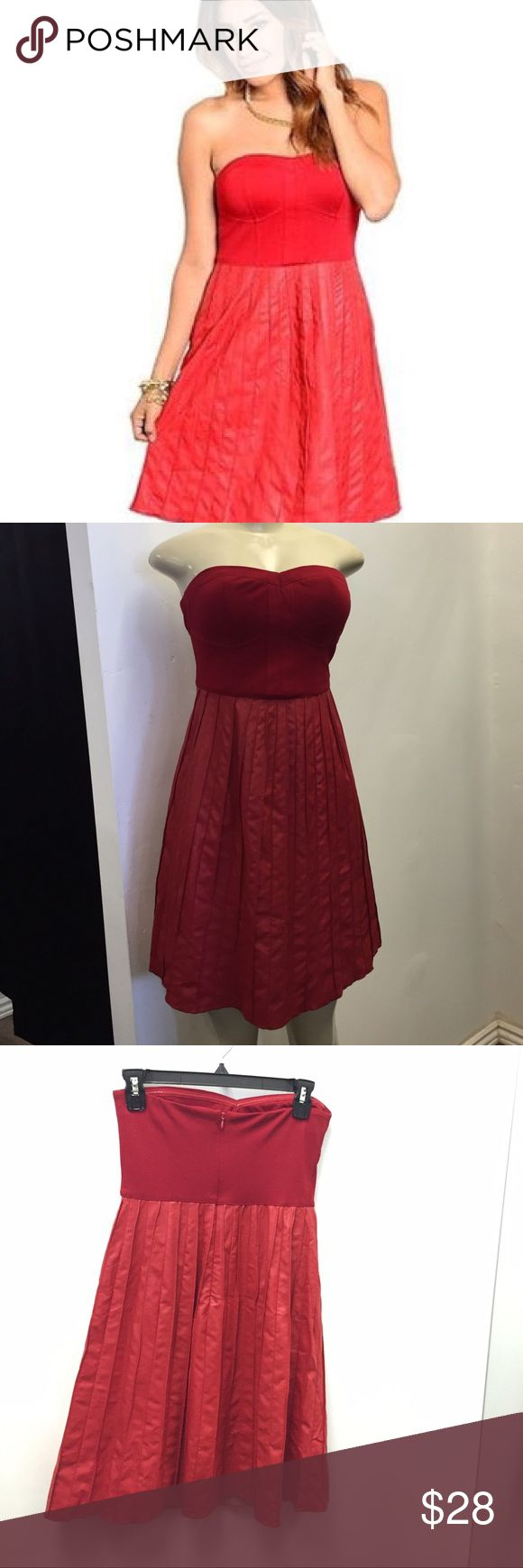 Red Faux Leather Pleated Strapless Dress Stretch Knit Cotton top section with Pleated Faux Leather skirt. The perfect dinner date dress!! Ark & Co Dresses Mini