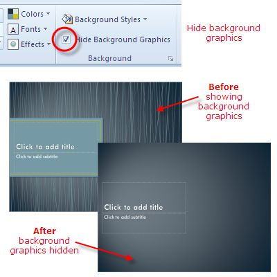 Design Themes in PowerPoint 2010: Hide Background Graphics on the Design Theme