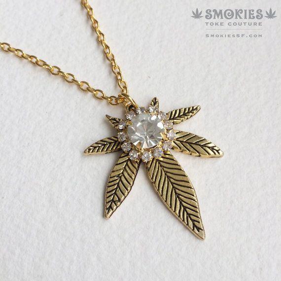 Gold Marijuana Necklace with rhinestone, 420 necklace, pot leaf necklace,marijuana jewelry girly 420 weed cannabis necklace cannabis bling