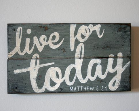 This vintage-inspired, reclaimed wood sign would be great to display in any room of your home as a reminder to take it one day at a time. It is based on Matthew 6:34, which reminds us not to worry about tomorrow.  It is completely hand-painted, using no vinyl or stencils. The sign is then aged with our three step antiquing process, and sealed with a matte finish. Finally, it has been accented with small tack nails in each corner.  This unique, one-of-a-kind sign is made from a reclaimed…