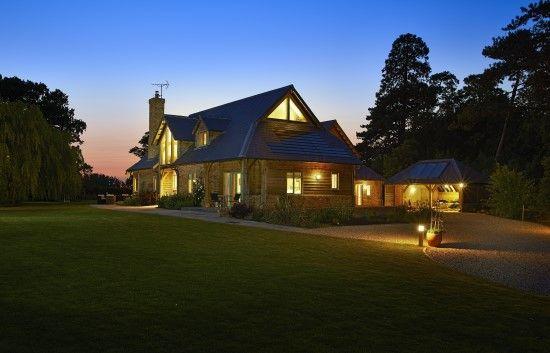 The house at dusk.