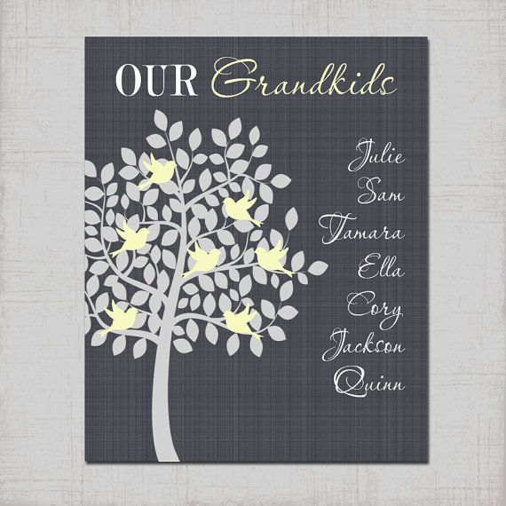 Wall Decoration For Wedding Anniversary : Custom grandkids grandparent tree personalized family kids