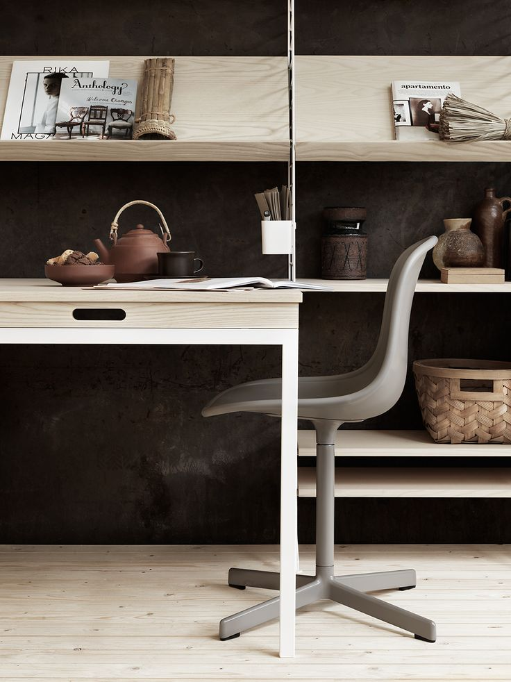 light wood and dark terracotta colours String furniture - Lotta Agaton - love the black wall