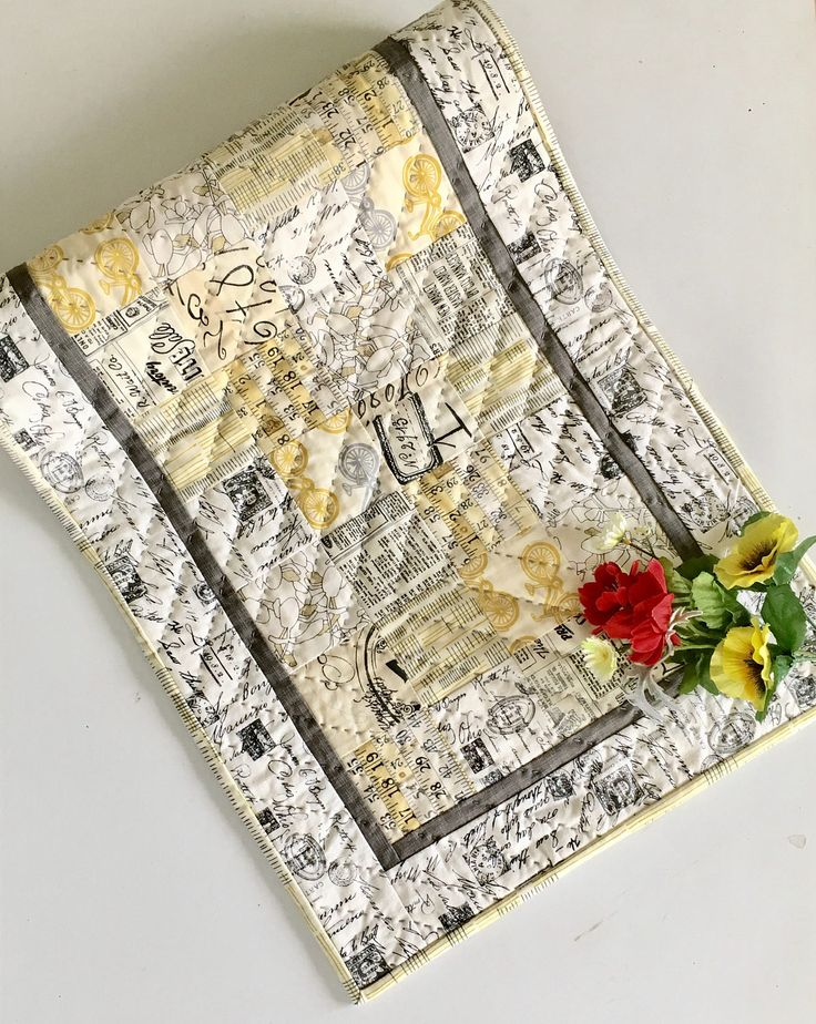 """INDUSTRIAL TABLE RUNNER Share your """"only-you"""" home decor style! This one is oh so trendy-cute! $86.00 at LittleWheelerQuilts on Etsy.com."""