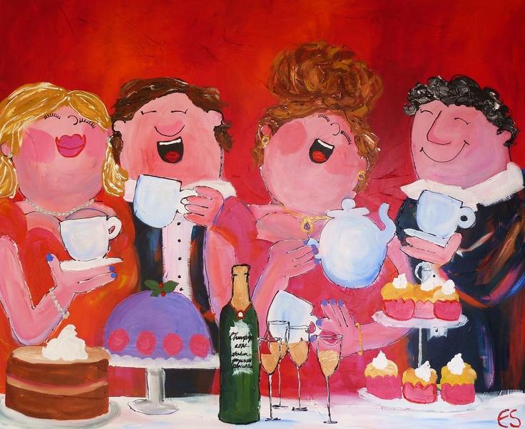 Acryl on canvas 100x120 cm (dikke dames schilderij)